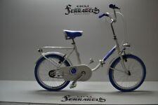 bicicletta pieghevole modello graziella 20 acciaio passeggio monotubo bianca blu