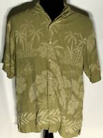 Tommy Bahama Palm Trees Floral Medium M 100% Silk Button-Front Hawaiian Shirt