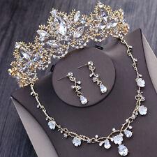 Vintage Wedding Bride Crystal Princess Crown Tiara Necklace Earrings Jewelry Set