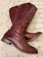 Frye Leather Tall Riding Boots Burgundy Size 7.5 B EUC! A4