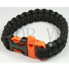 Paracord 550 Camping Para Bracelets Buckle Survival Hiking Hunting Whistle #1 SX