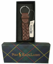 NEW Polo Ralph Lauren Keychain!  Red or Brown Braided Leather  *Tartan Gift Box*