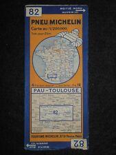 Vintage 1934 French Michelin Map of Pau Toulouse (Feuille 82/Carte de La France)