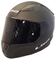 LS2 FULL FACE MOTORCYCLE CRASH HELMET MATT BLACK WITH DARK BLACK TINTED VISOR