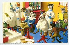 ALFRED MAINZER . Chats humanisés . CHEZ LE COIFFEUR. Dressed cats . HAIRDRESSER