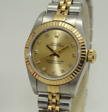 "ROLEX WOMENS OYSTER PERPETUAL SS & 18K CHAMPAGNE DIAMOND DIAL WATCH 67193 ""U"""