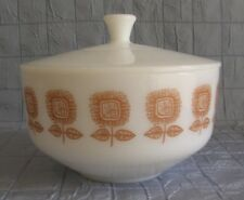 FEDERAL GLASS 2.5 QT COVERED CASSEROLE BROWN SUNFLOWER PATTERN (B7)