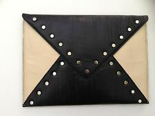 bebe Studded Leather Clutch Purse Handbag Bag Women Black Beige NWT New