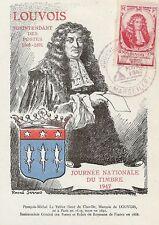 CP MAXIMUM JOURNEE DU TIMBRE 1947 MARQUIS DE LOUVOIS