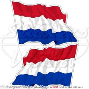 NETHERLANDS Dutch Flying Flag HOLLAND 75mm Vinyl Bumper Stickers Decals x2