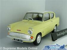FORD ANGLIA 105E CAR MODEL 1:43 SIZE YELLOW/WHITE ROOF 60'S CLASSIC T3