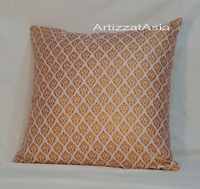1 WHITE & GOLD COTTON BATIK THROW PILLOW COVER SQUARE 45x45cm OR 18x18in