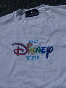 Vintage 90s Walt Disney World Rainbow Embroidered Spell Out T-Shirt - Size L/XL