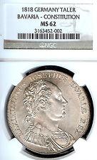 Germany Deutschland Bavaria 1818 Taler Coin Constitution Thaler NGC MS 62  F.STG