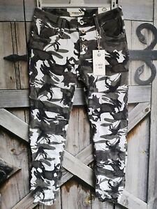 KAROSTAR Damen Boyfriend Baggy Jeans Hose Camouflage grau schwarz weiß 38-48