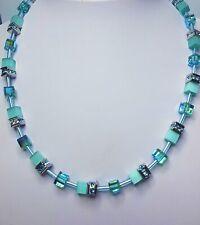 Aqua Geo-Cube Necklace