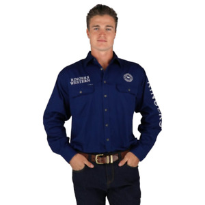 Ringers Western Hawkeye Navy White Embroidered Mens Full Button Work Shirt