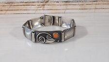 Antikes wunderschönes Armband Silber 900, Lachskoralle, Handarbeit um 1930, E.S.