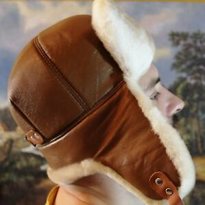 Hat Earflaps made from natural materials, natural sheepskin men/women