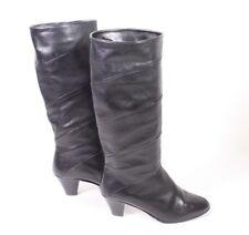 16S  Damen Stiefel Gr. 36,5 (4) Leder schwarz Slouch Krempelschaft Vintage