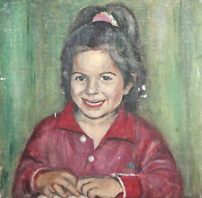 Girl oil painting portrait signed