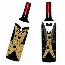 Mr & Mrs Wine Bottle Jackets Dinner Party Wedding Tux Suit Tableware New Year