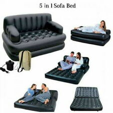 5 in 1 INFLATABLE DOUBLE SOFA LOUNGER COUCH AIRBED MATTRESS + FREE ELECTRIC PUMP