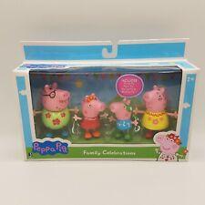 "Peppa Pig Family Celebrations 3"" Figure Playset Peppa George Daddy Mummy New"