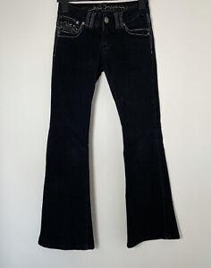 JANE NORMAN Black Denim Bootcut Jeans Flared Bead Embellished L30 W26 Y2K 90s