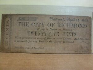 1862 City of Richmond, Virginia  25 Cent Obsolete Note