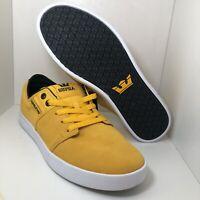 Supra Skateboarding Shoes Low Yellow Black 08183-812 Mens Size 10