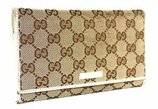 Authentic GUCCI GG pattern Canvas Leather Kissing lock Long Wallet  Brown Ivory