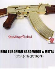 EUROPEAN WOOD  METAL REPLICA 1:1 GOLD AK-47 FULL STOCK MOVIE PROP GUN DENIX SMG