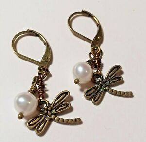 Bronze Dragonfly, White Pearl Leverback Earrings Handmade ~* Sundance Artisan *~