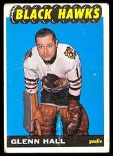 1965 66 TOPPS HOCKEY #55 GLENN HALL VG-EX CHICAGO BLACK HAWKS CARD