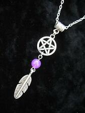 Silver Celtic Pentacle Necklace Gothic Wicca Pagan Pendant Fantasy Feather Dream