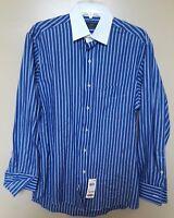 Club Room Blue Stripe White Collar Long Sleeve French Cuff Dress Shirt 15 32/33