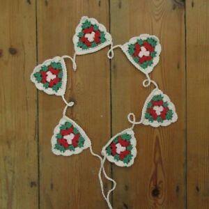 Christmas Crochet Granny Triangle Garland Bunting 6 Flags Boho