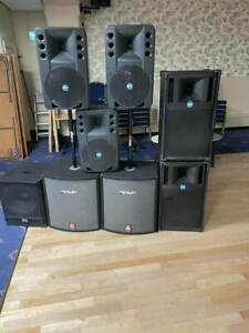 COMPLETE PA SET UP SPEAKERS AND AMPS 4,200 WATTS TOTAL POWER
