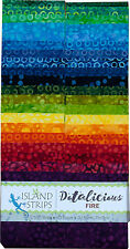 Island Batik Dotalicious Fire Yellow Red Blue Batiks Jelly Roll Strips Pack 40