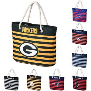 NFL Football Womens Nautical Stripe Tote Beach Bag - Pick Team
