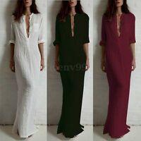 Zanzea Women Deep V Collar Long Sleeve Cotton Pencil Maxi Dress Evening Party