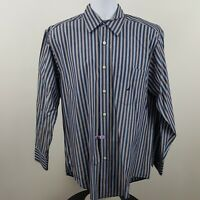 Nautica Men's Blue Striped L/S Casual Button Shirt Sz Medium M