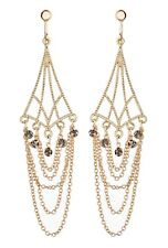 Clip On Earrings - gold plated chandelier earring with chains & crystals - Kafi