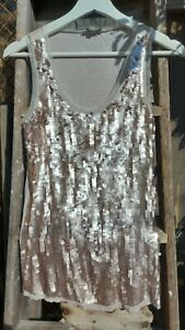 Reiss sequin Sleeveless Women's Tank Top Blouse Size XS