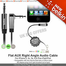 Belkin AV10128cw03-BLK Audio Right Angle Flat cable 3.5mm to 3.5mm jack socket