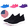 Women Walking Shoes Running Black Sneakers Athletic Sports Casual Trainers Flat