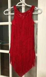 NWOT Balera Fringe Sequined Dance Skating Dress Costume Leotard Girls 8-10 Years