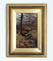 Antique Oil Painting Chisholm Cole (British  1871–1902) Sheep In Woodland Glade