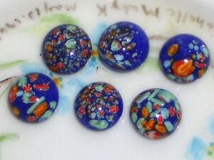 #753M Vintage Millefiori Cabochon Cabs Glass Lot Japan Colorful Specks 10mm Blue